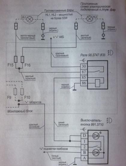 Как подключить противотуманные фары на Калину: схема, какой комплект использовать, как сделать кнопку включения, фото и видео